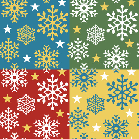 A seamless vector snowflake pattern in four holiday color combinations. Vector
