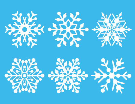 A collection of six vector snowflakes. Vector