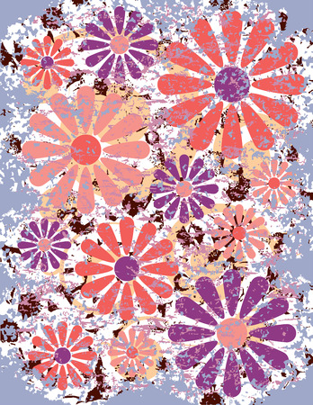 An illustration of stylized, grunged flowers. Vector