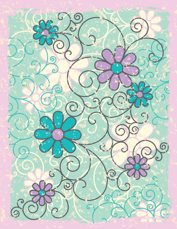 An illustration of stylized flowers and scrolls on a green grunge background with pink frame.