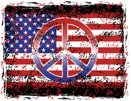 Illustration of a grunged American Flag and Peace Symbol