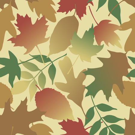 Seamless pattern of gradient leaves. Vector