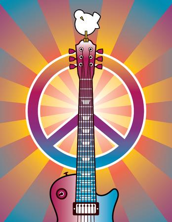 ギター、平和のシンボル、ウッド ストック音楽とアートフェア 1969 年に捧げ鳩のイラスト。