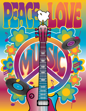 An illustration dedicated to the Woodstock Music and Art Fair of 1969. Vector