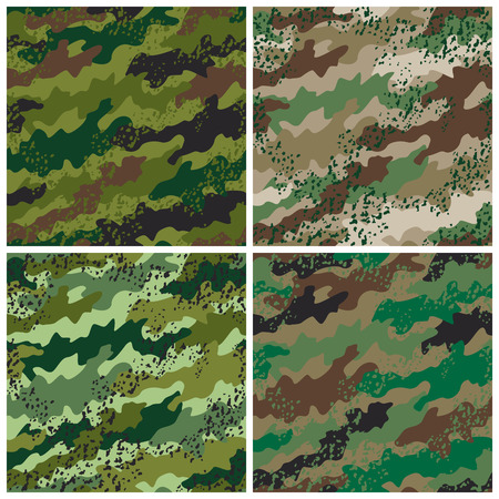 A seamless vector camouflage pattern in four colorways with a grunge effect.