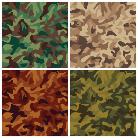 A classic seamless vector camouflage pattern in four colorways. Vector