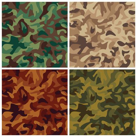 deceptive: Het patroon van een klassieke naadloze vector camouflage in vier colorways.
