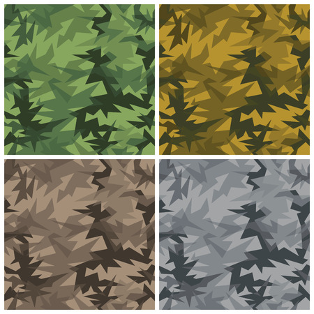An abstract seamless vector camouflage pattern in four colorways with transparent effect. Vector