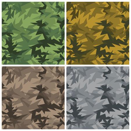 deceptive: Een abstract naadloze vector camouflage patroon in vier kleurstellingen met transparante werking.