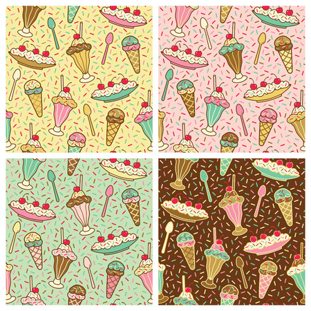 seamless pattern of ice cream desserts. Repeat size is 6.3125. Vector