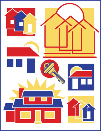 casa colonial: Colecci�n # 1 de siete ilustraciones relacionadas con el hogar.