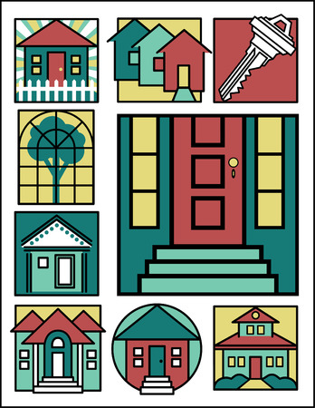 Collection #2 of nine home-related illustrations. Vector