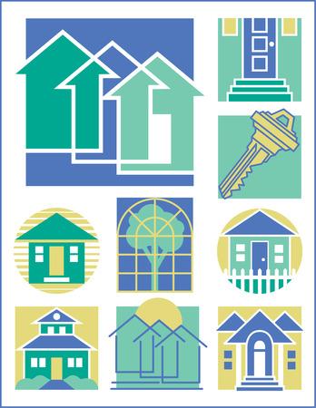 casa logo: Collection # 3 di nove home-relativi illustrazioni.