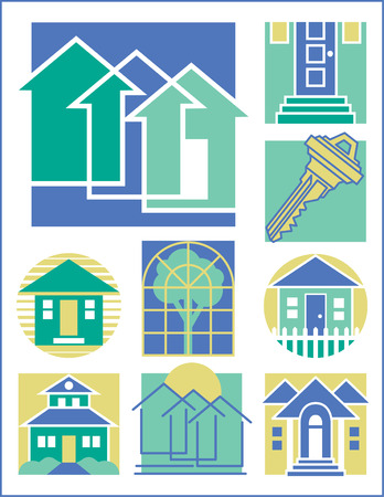 colonial house: Collection #3 of nine home-related illustrations.