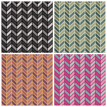 A seamless herringbone pattern in four colorways. Illustration