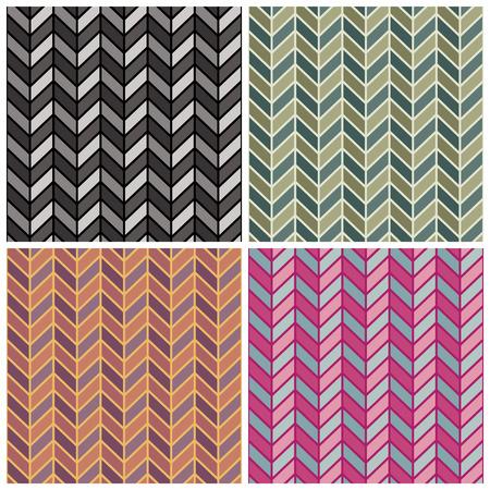 A seamless herringbone pattern in four colorways. Illustration