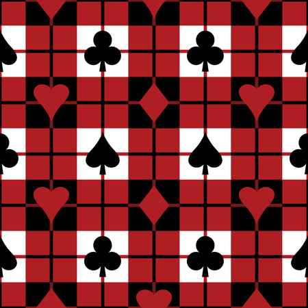 Seamless plaid pattern with the four playing card suits. Repeats 12 inches. Vector