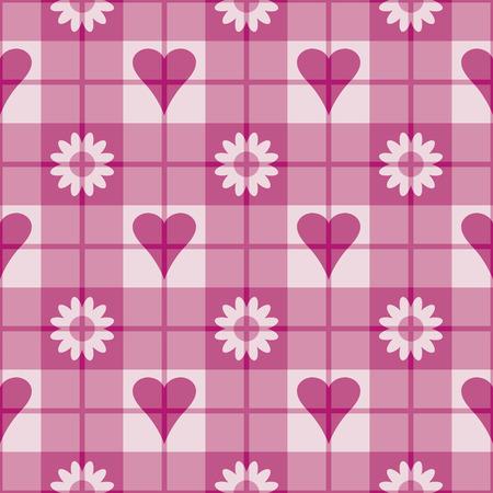 ピンクの心と花でシームレスな格子縞のパターン。12 インチが繰り返されます。