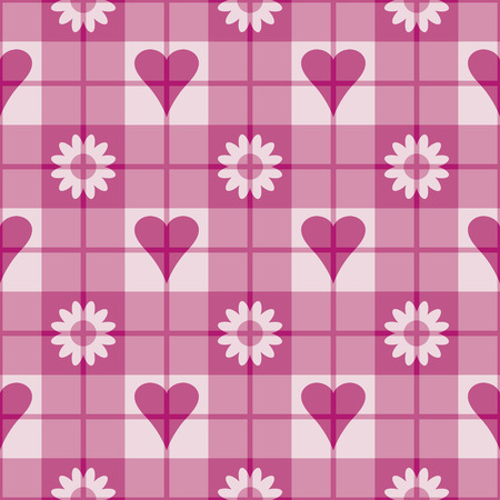 Seamless plaid pattern with pink hearts and flowers. Repeats 12 inches. Vector