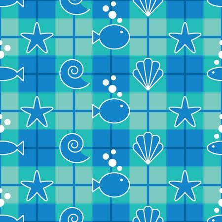 海の生活のグラフィックとのシームレスな格子縞のパターン。12 インチが繰り返されます。  イラスト・ベクター素材