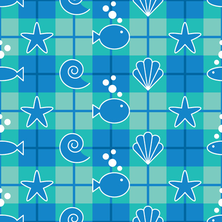 seashells: Seamless plaid pattern with sea life graphics. Repeats 12 inches.