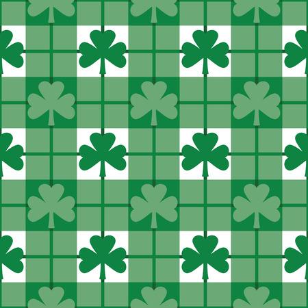 緑の shamrocks のシームレスな格子縞のパターン。12 インチが繰り返されます。 写真素材 - 5170034