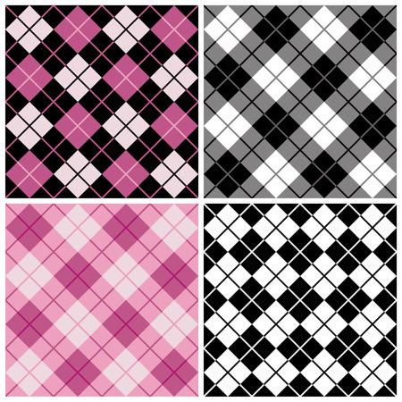 블랙 및 핑크색 아가일 무늬 무늬 일러스트