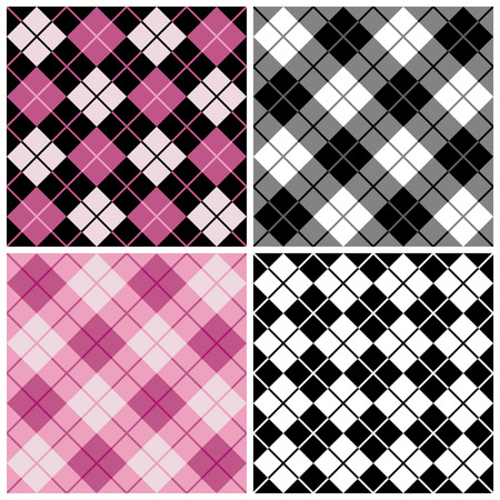Argyle-Plaid Pattern in Black and Pink Illustration
