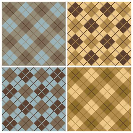アーガイル チェック柄ブルー、ベージュとゴールドのパターン
