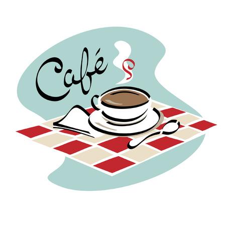 sip: Una taza caliente de caf� listo para sip en un caf?.