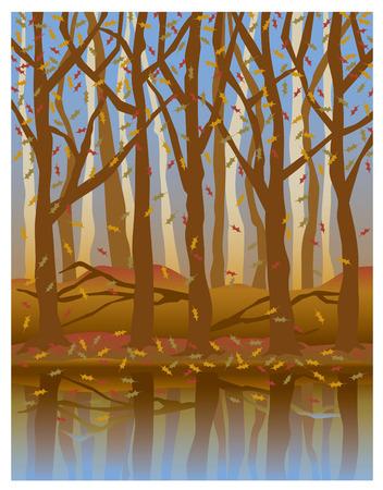 Illustratie van de bomen tot uiting in het water in het najaar.