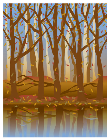 Illustration of trees reflected in water in Autumn.