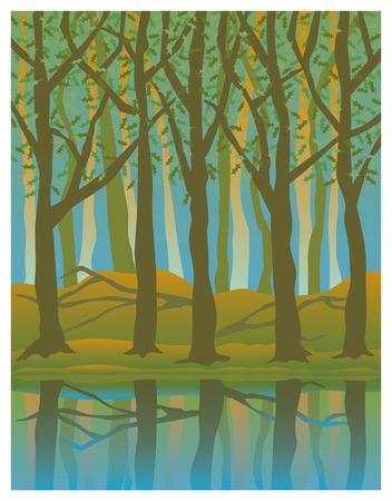 Illustratie van de bomen tot uiting in het water in de zomer.