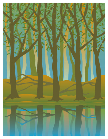 Illustration of trees reflected in water in the Summertime. Illustration