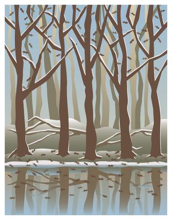 Illustration d'arbres reflète dans l'eau en hiver. Banque d'images - 5204487