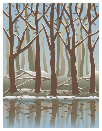 Illustration of trees reflected in water in the Wintertime.