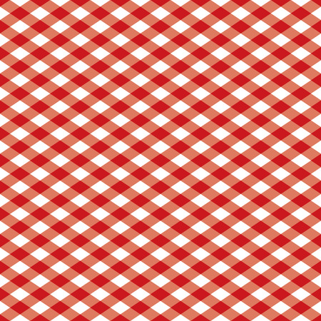 Seamless gingham pattern in red and white. Vector