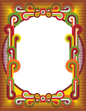 A retro pop art frame with half-tone dot border.