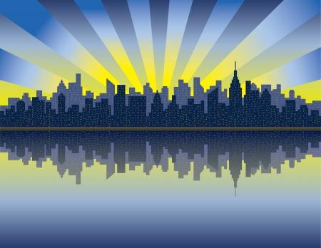 ハドソン川からマンハッタンの日の出のイラスト。