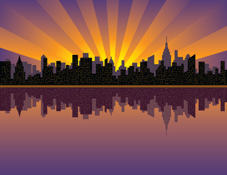 イースト川からマンハッタンに沈む夕日のイラスト。  イラスト・ベクター素材