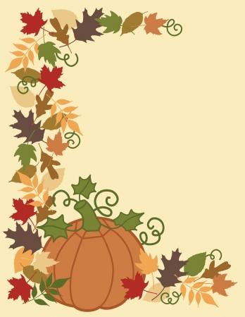 Pompoen en herfst bladeren grens en achtergrond.