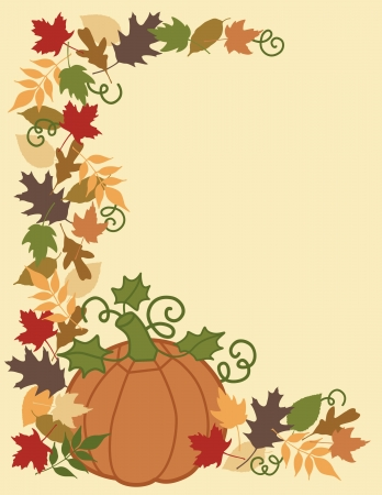 Pumpkin and Autumn leaves border and background. Vector