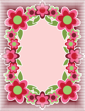A retro flower frame in pink with half-tone border. Illustration