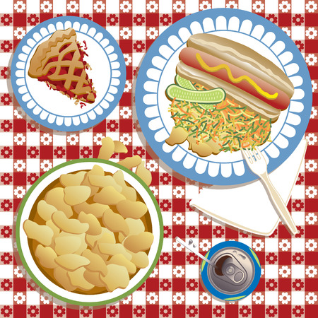 tabletop: An illustration of a typical American picnic spread. Illustration