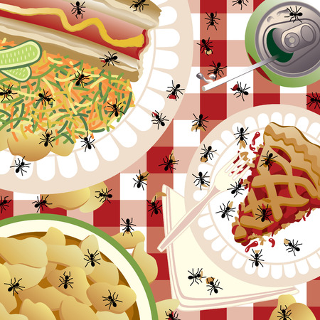 A picnic spread being invaded by ants. The tablecloth pattern will repeat seamlessly. Food is grouped and on separate layers fo Vettoriali