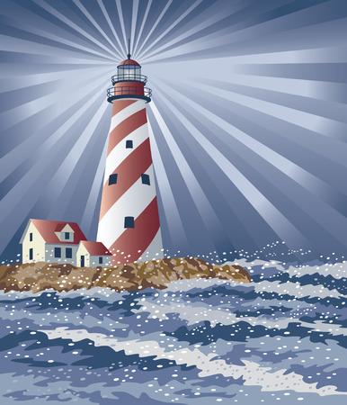 Ilustracja latarnia morska Å›wietlnej nocy.