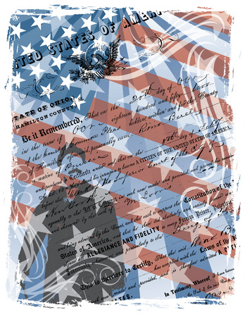 immigrate: Montage of a proud American citizen.