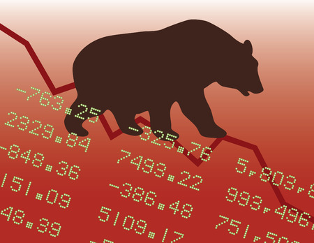 stock: Illustration of a bear market downtrend.