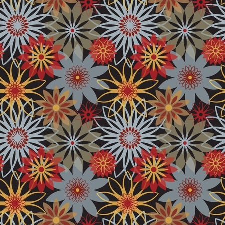 Vector seamless floral pattern in pinks and reds. AI8-compatible transparency effect. Vector