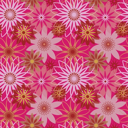 youthful: Vector seamless floral pattern in pinks and reds. AI8-compatible transparency effect.